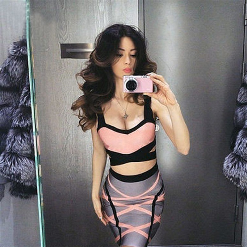 New Arrivals Spaghetti Strap Patchwork Crop Top 2 Two Pieces Set Club Cocktail Party Bodycon Women Sexy Bandage Dress Vestidos