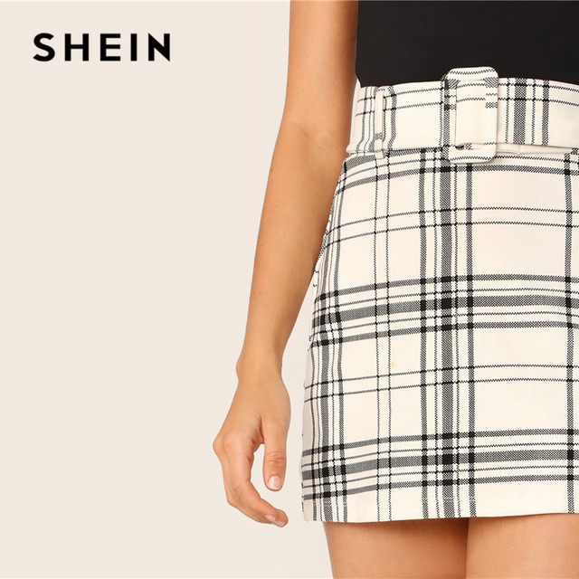 SHEIN Ladies White Buckle Belted Plaid Skirt Korean Style Women Preppy High Waist Skirt Stretchy Spring Summer Mini Skirt 2