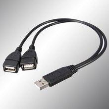 USB Erkek Çift Dişi Jack Bir Splitter Iki Hub Güç Veri uzatma kablosu Kablosu