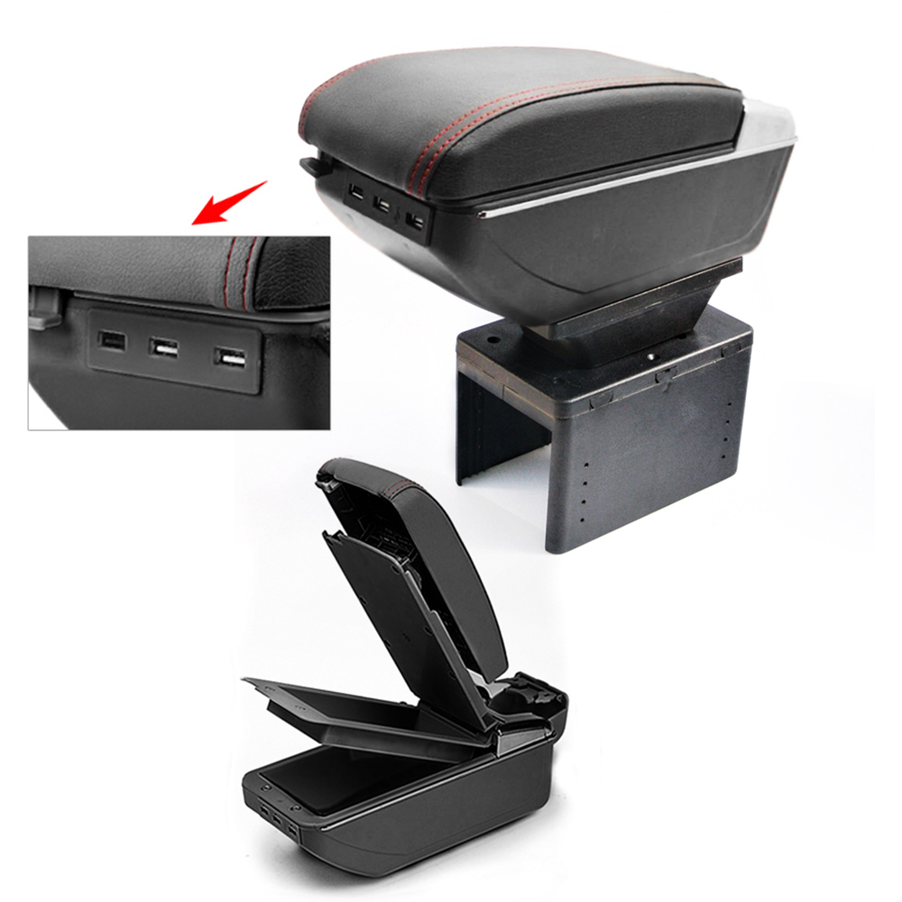 For Nissan Kicks 2017 Armrest Box With Usb Car Center Storage Box With Cup Holder Ashtray Arm Rest Rotatable Interior Accessory