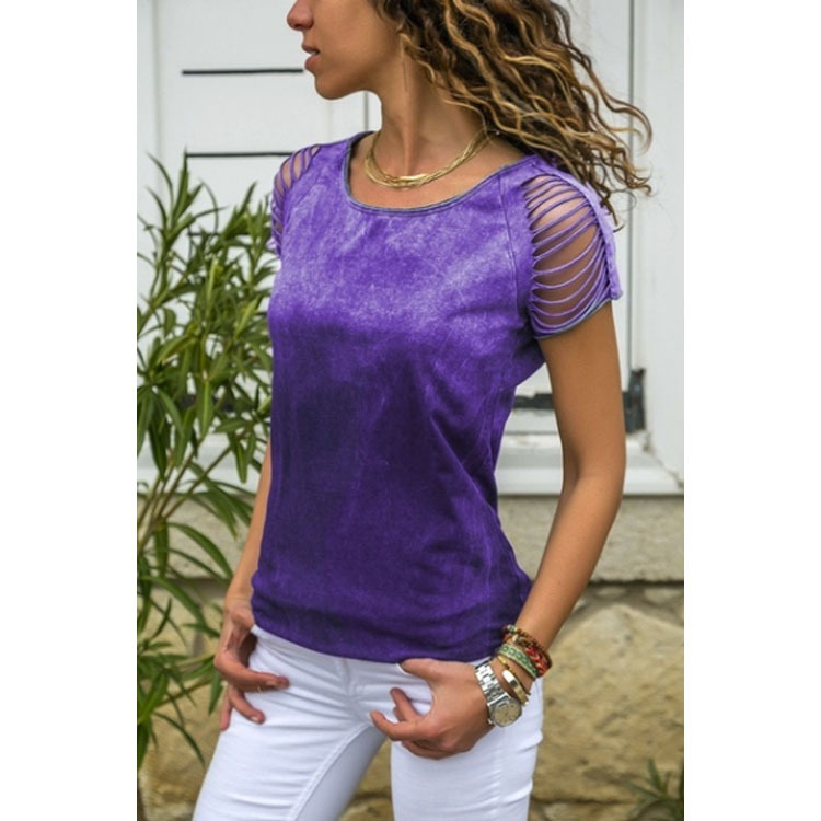 Summer Women Tshirt Plus Size Ladies T Shirt Tops Round Neck Casual Holes Female Tee Shirt in T Shirts from Women 39 s Clothing