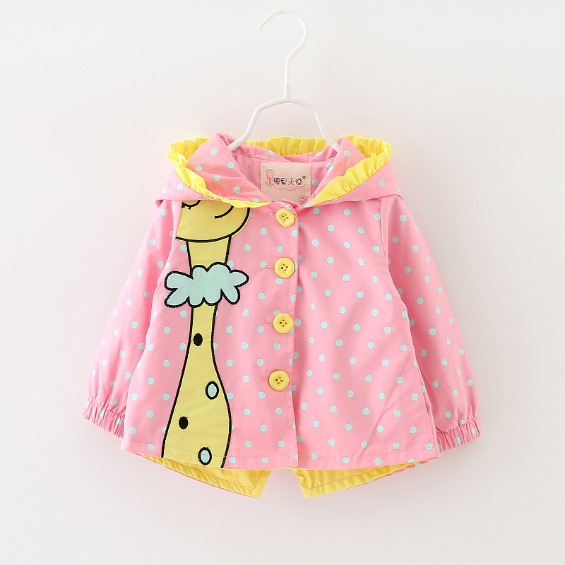 1 2 3Yrs Kids Girls Windbreaker 2019 Cute Spring Baby Girl Jackets Autumn Cartoon Dots hooded Coats Girl Outerwear Kids Clothes