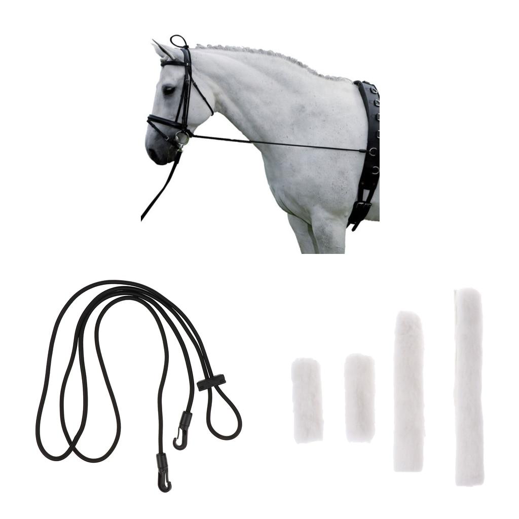 Black Horse Neck Stretcher 3 M with 4pcs White Fleece Horse Noseband Cover Halter Protection Strap Equipment For Horse Riding