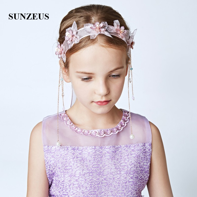 Flower Tassel Headband For Girls Pearls Beaded Wedding Accessories Ribbons Bridesmaid Hair Decoration SG21