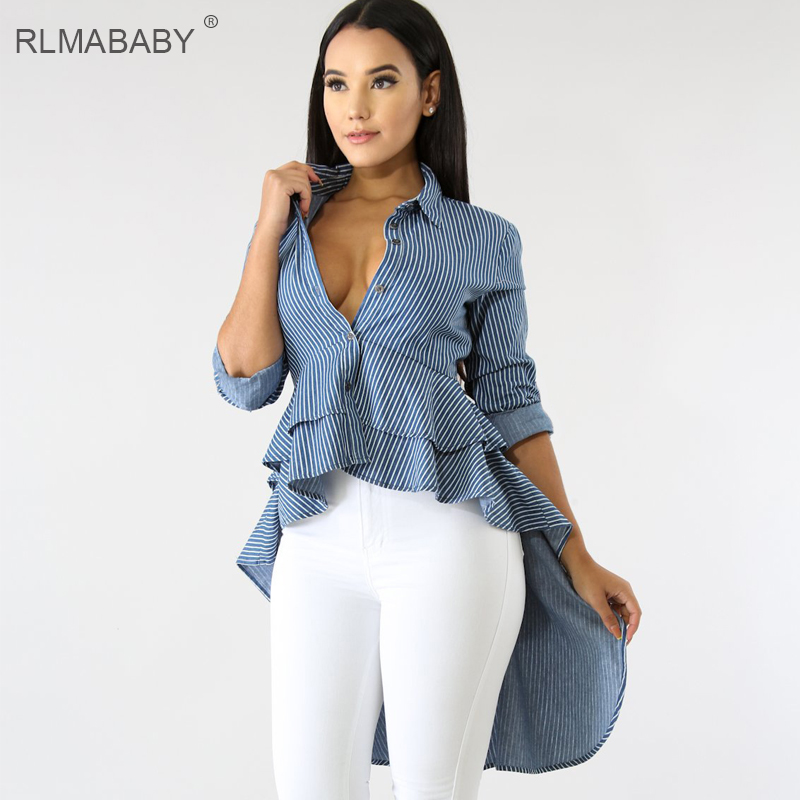 b004fd611d794a RLMABABY Asymmetrical Ruffles Blouse Shirt Sexy Turn down Collar Long Sleeve  Button Womens Tops And Blouses Plus Size Summer Top-in Blouses & Shirts  from ...