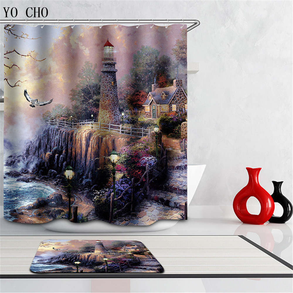 multiple size lighthouse fabric shower curtain waterproof home bathroom curtains fall scenery 3d waterproof bath curtain