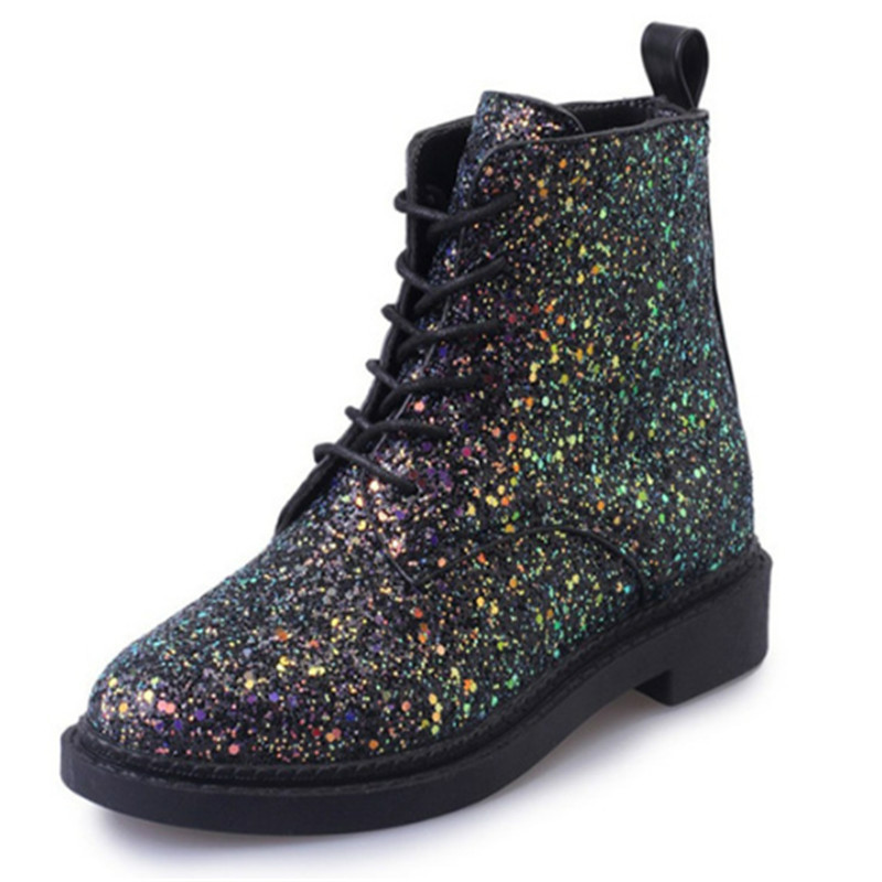 Teenage Girls Spring Glitter Lace up Shoes Designers Women Ankle Boots Heels Female Students Casual Shoes Bling White Black Pink