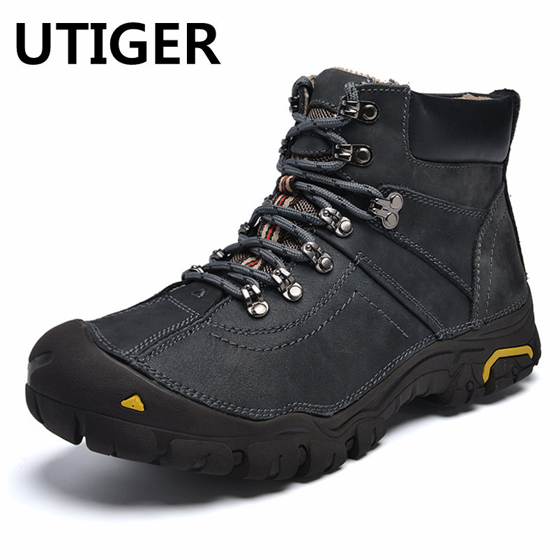 Genuine Leather Outdoor Sport Shoes Men Hiking Shoes Waterproof Sneaker Winter Plush Warm Climbing Mountain Trekking