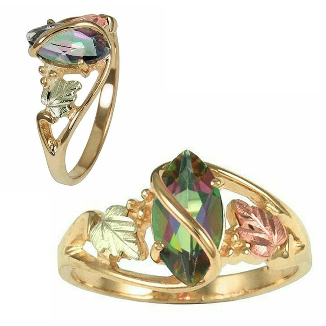 Women Fashion Colorful Leaves Finger Ring Party Multicolor Jewelry Gift(China)