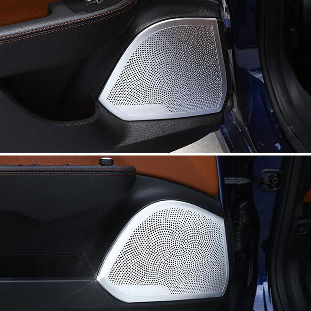 4pcs Set Car Door Audio Sound Speaker Cover Trim Aluminum Interior Alfa Romeo Fit For 2017 Giulia Styling Accessories In Mouldings From
