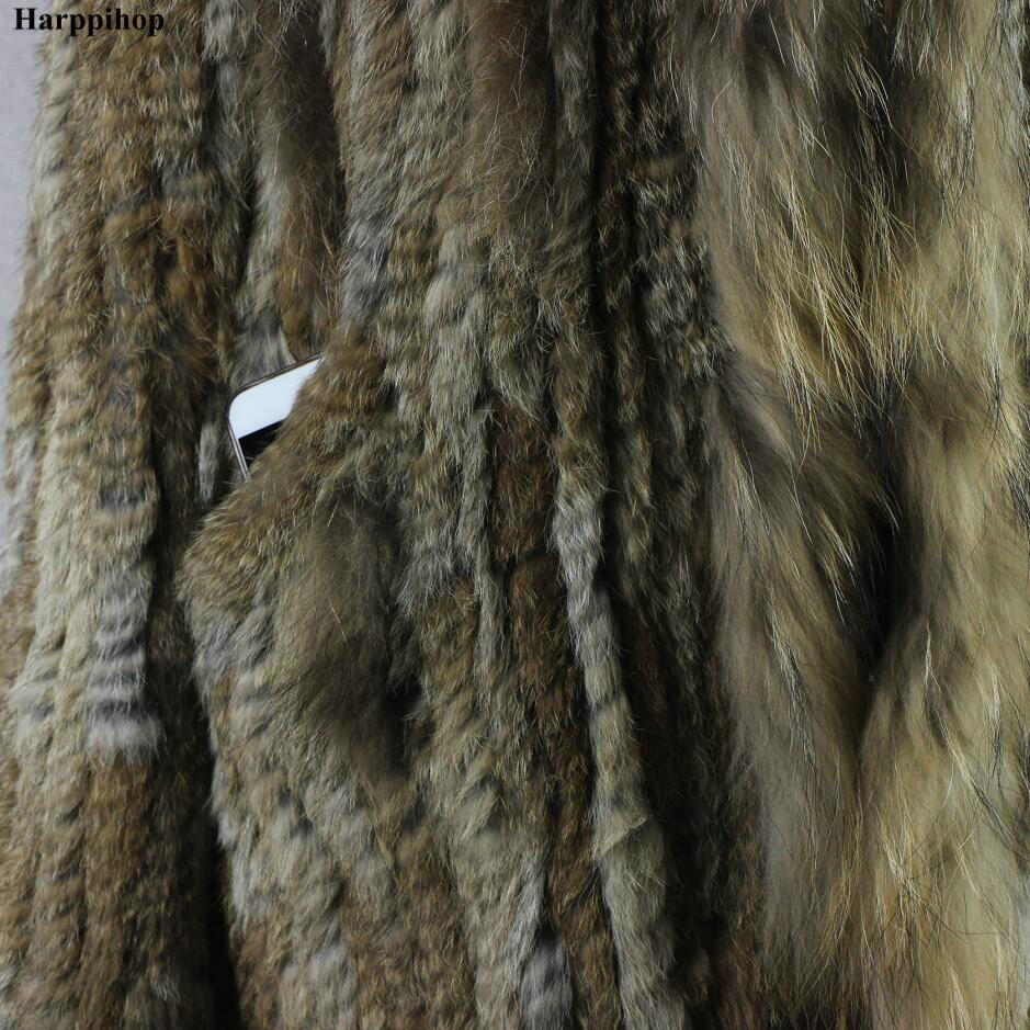 Des Grey Harppihop Ceinture Longue Réel Tricoté Natural Glands Fourrure 2018 natural Avec Dame Femmes Capuche Brown veste Gratuite Lapin Livraison De outware Manteau TqBxTwrSZ