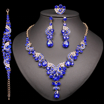 Fashion Indian Bridal Earrings Necklace Set Dubai Luxury Crystal Wedding Jewelry Sets Gold-Color Women's Costume Jewellery Gifts