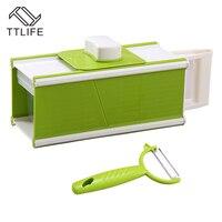 TTLIFE Multi Mandoline Vegetable Slicer Grater Kitchen Set 5 In1 Dicer Slicer Potato Carrot Dicer Salad