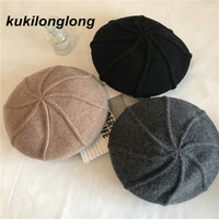 Kukilonglong Woolen Berets For Women Thick Winter Hats For Ladies Wool Warm Gorras Caps For Adults