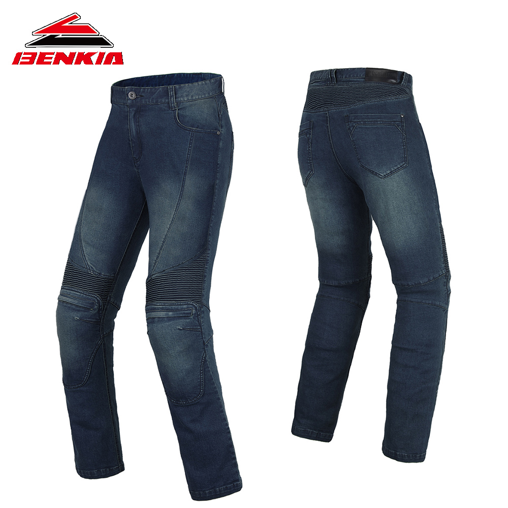 BENKIA Motorcycle Pants Men Women Windproof Racing Denim Pants Protective Riding Jeans Unisex Pantalon Motorbiker Trousers PC54 women fashion skinny denim pants high waist jeans pencil pants sexy slim elastic denim pant trousers lady black jeans 2017