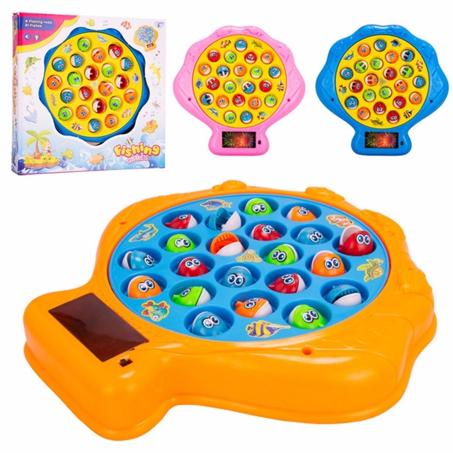 Surwish Plastic Electric Fishing Toys Set With Large Rotating Music 3D Light Scallop Pattern Plate Classic Educational Kids Toys