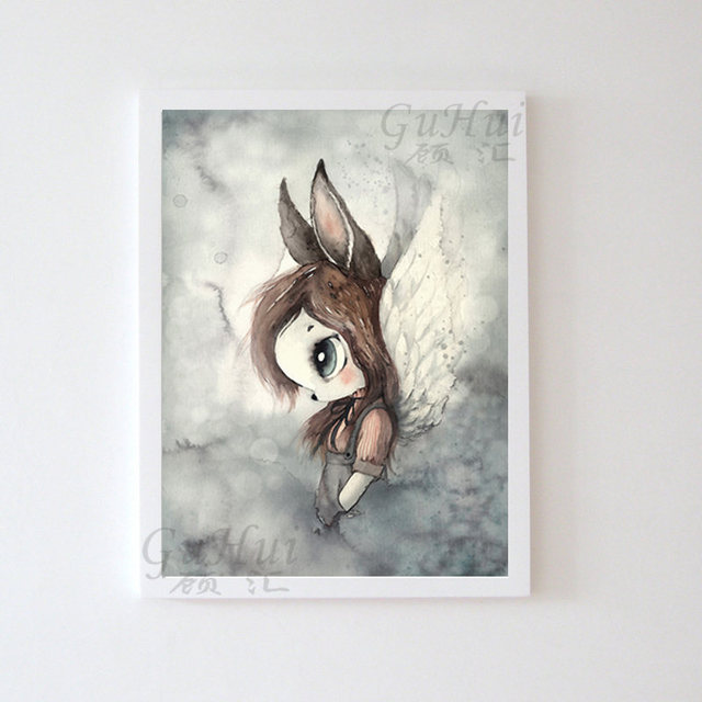 Scandinavian Balloon Rabbit Boy and Girls Cartoon Angel Canvas Decoration Painting Art Poster Kids Baby Nursery Room Wall Murals