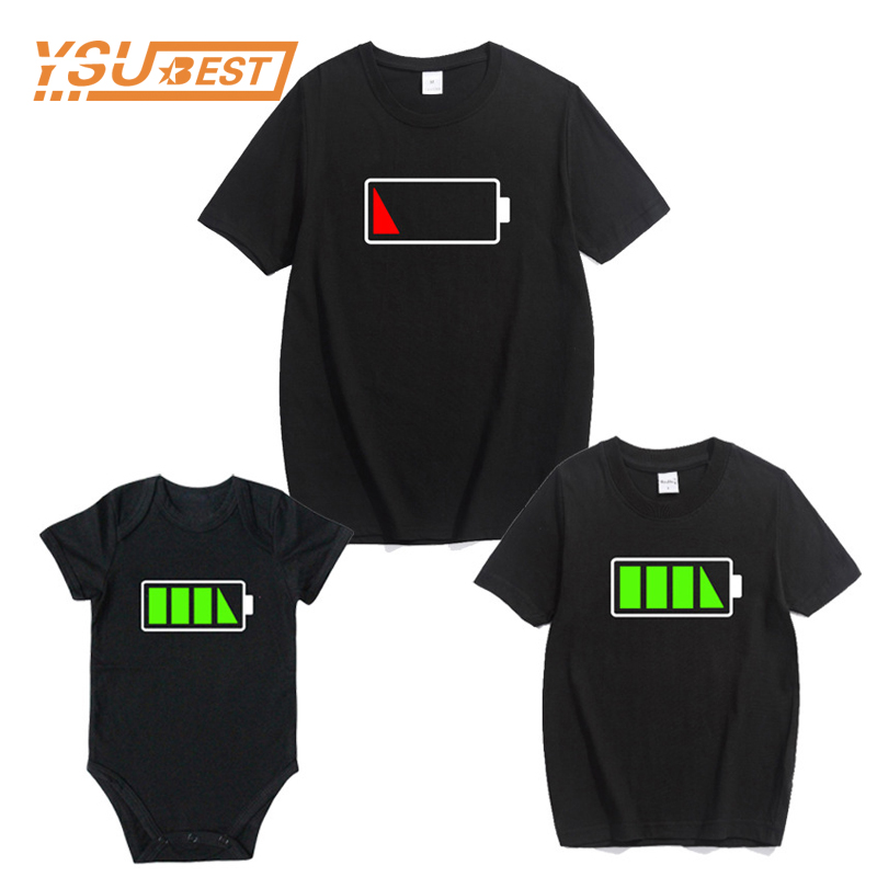New Family Matching Outfits Father Son T Shirt Outfits Matching Clothing Mommy And Me Clothes Short Sleeve Print Battery T-shirt