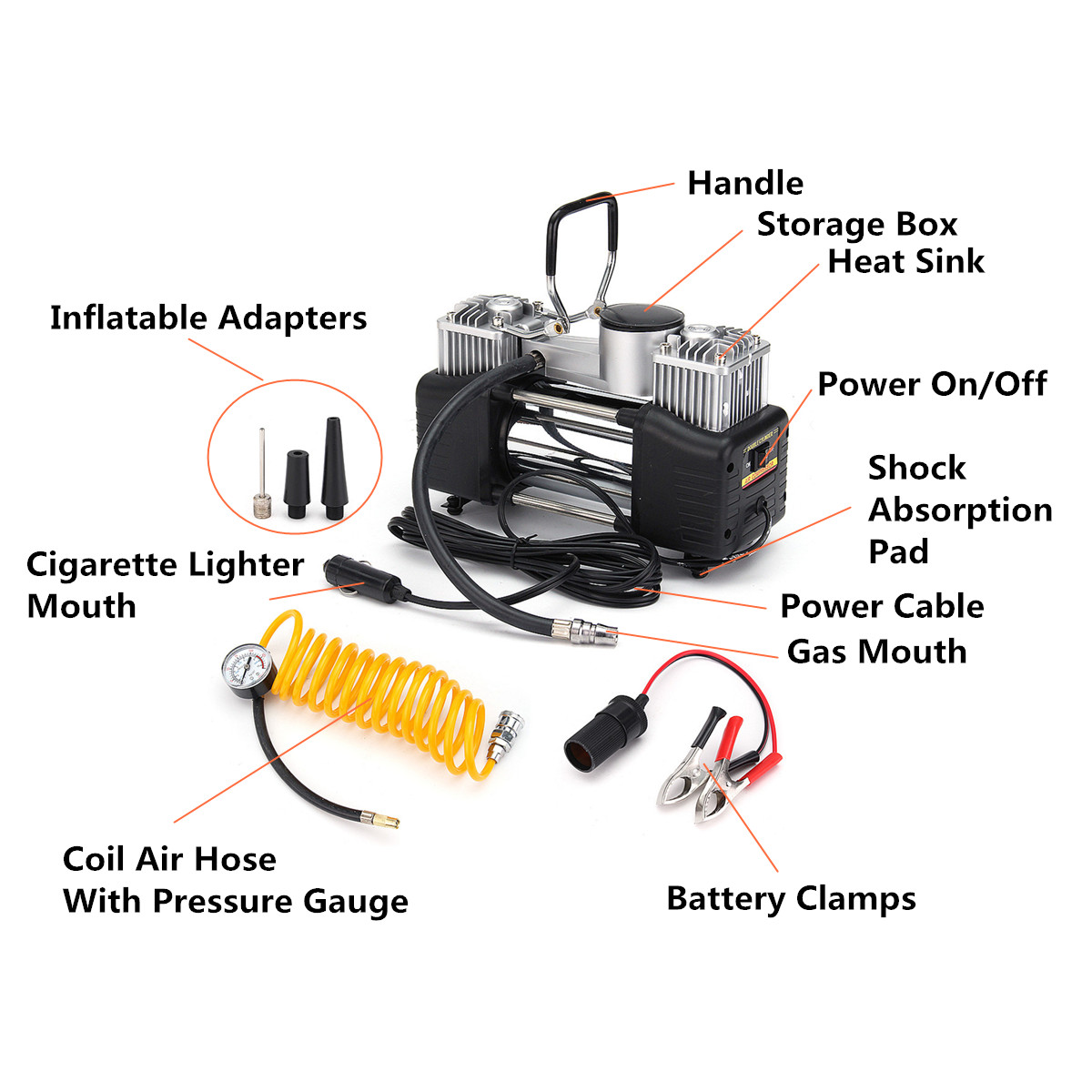 Heavy Duty Double Cylinder Air Pump 12V 150PSI 150W Compressor Car Tire Tyre Inflator Allow use 3pcs Inflatable Adapters Convent 12v portable digital car air tire compressor double cylinder heavy duty 150psi tyre pressure inflator pump vacuum cleaner
