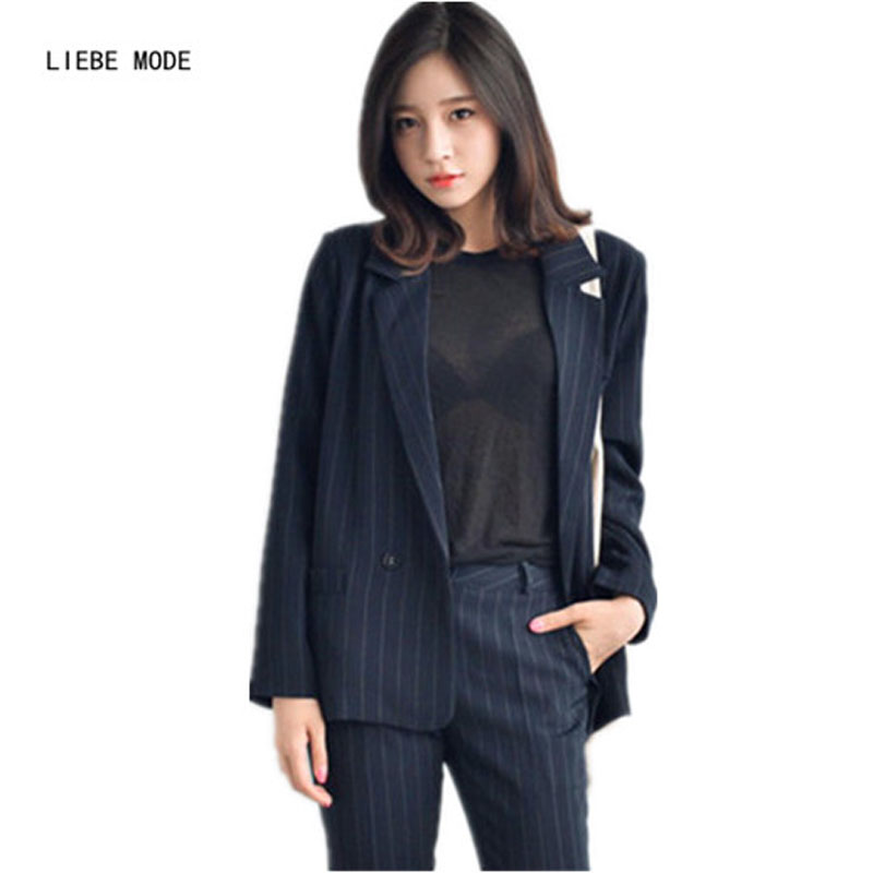 2016 Fashion Casual Vertical Striped Blazers and Jackets Woman Stylish Blaser Feminino Formal Slim Fit Black Suits For Women