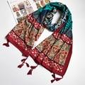 Women Cotton Scarf Ethnic Totem Cotton Long Shawl Large size Twill Tassel Stole Neckerchief Brand New 2017 [1838]