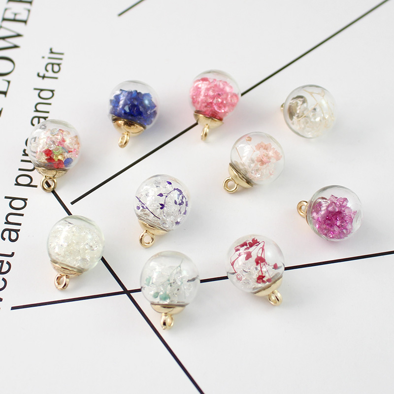 15pcs Glass Ball Charms Jewelry Making Pendants for Home Decor DIY Craft