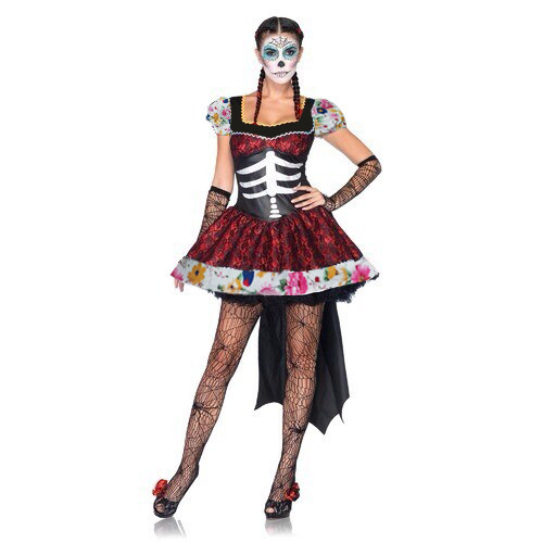 Mexican Day of the Dead Horror Armored Costume Halloween Party Flower Fairy Ghosts Dress
