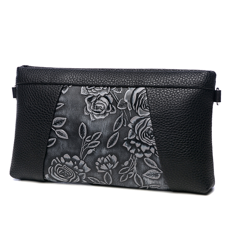 Vintage Rose Embossing Genuine Leather Woman Clutches Wristlets Envelope Bag Shoulder Bag Handbag Clutch Purse Lady Long Wallet vintage serpentine genuine leather woman clutches evening bag crossbody chain shoulder bag handbag clutch wallet lady long purse