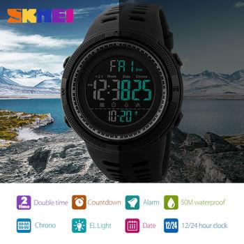 SKMEI Men Watches Sports Countdown Double Time Watch Alarm Chrono Digital Wristwatches Man Clock Waterproof Relogio Masculino - discount item  40% OFF Men's Watches