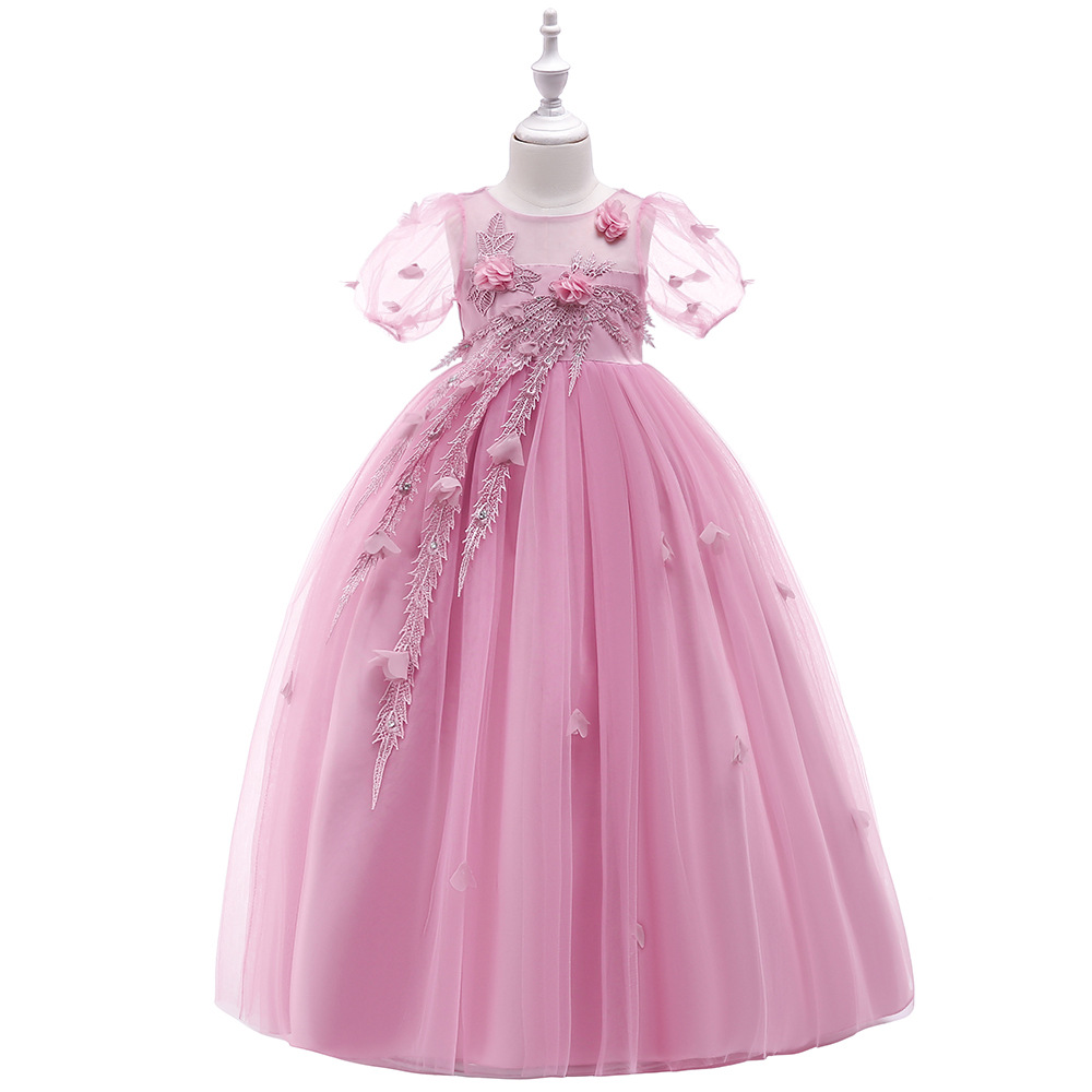 Flower Girl Dresses For Wedding Party Formal Gown For Little Baby Girl Withe Appliques Cute Bow 2019 Summer New Style