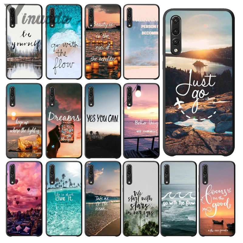 Yinuoda Far mountain sea hot air balloon and light printing Black Phone Case for Huawei Mate10 Lite P20 Pro P10 Plus Honor 9 10-in Half-wrapped Cases from Cellphones & Telecommunications