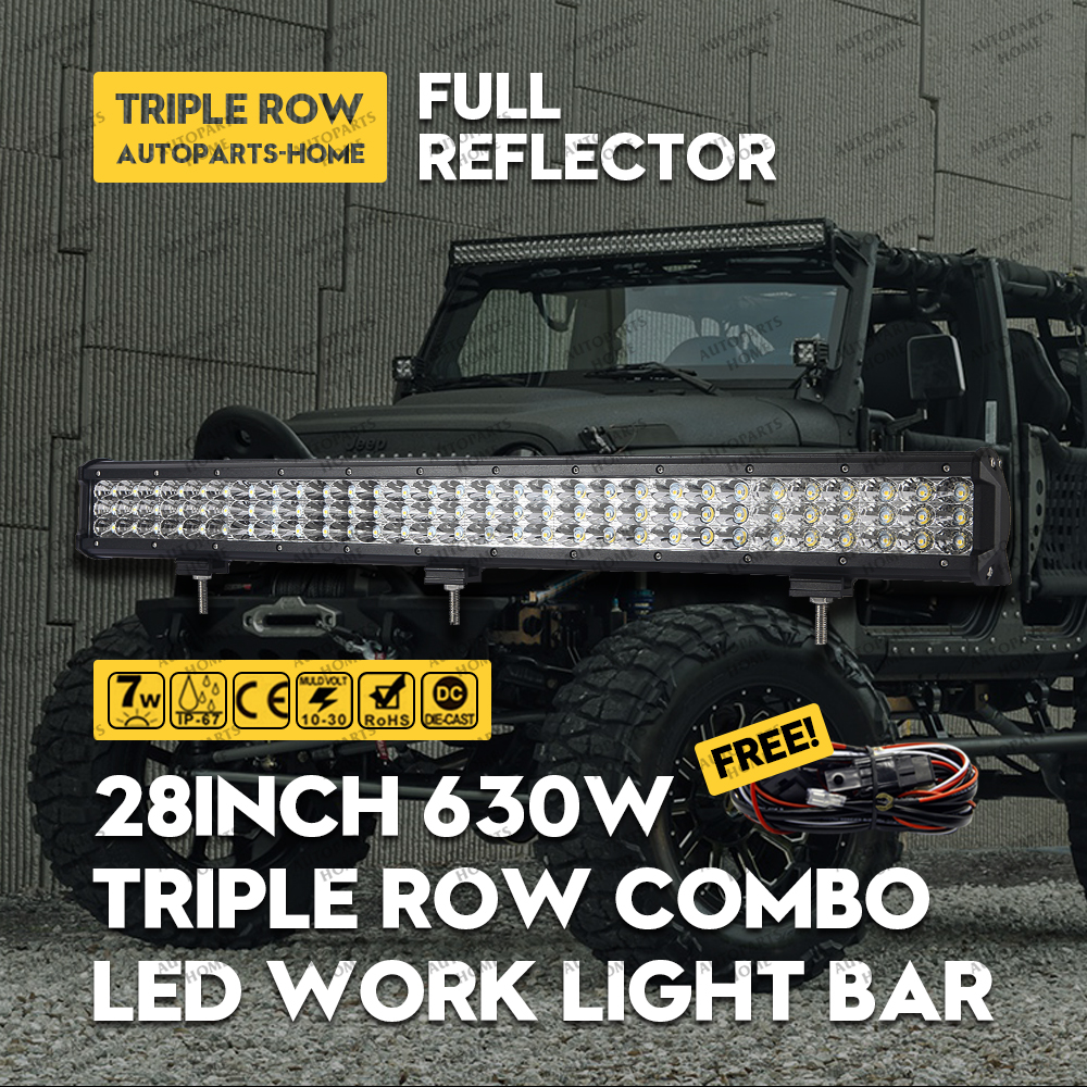 LED Work Light Bar 28inch 630W Tri-row for Tractor Boat Off Road 4WD Truck SUV ATV Combo Beam 12V 24V 3row+ 3m Harness Wire Kits 15 inch 180w tri row led work light bar with wiring harness spot flood combo beam for jeep off road 4wd boat suv atv truck 4x4