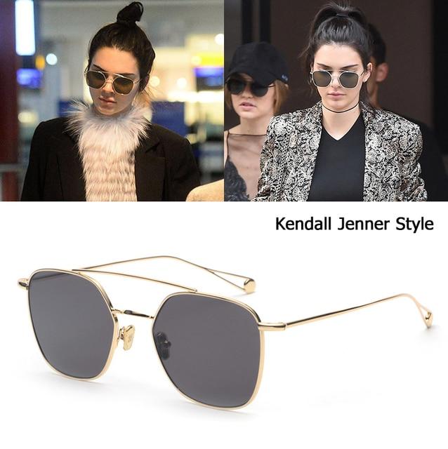1a13f3c12fdb0 Kendall Jenner JackJad 2018 Moda Estilo Quadrado Aviação Óculos De Sol Das  Mulheres de Design Da