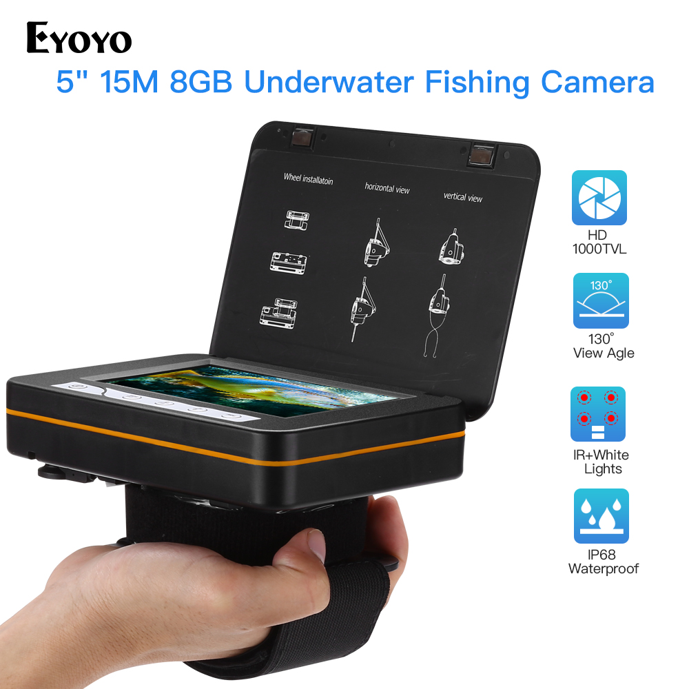 """Eyoyo EF15R Original 15M 1000TVL Fish Finder Underwater Fishing Camera 5"""" Video Monitor 4pcs Infrared+2pcs White Leds For Fishin-in Fish Finders from Sports & Entertainment"""