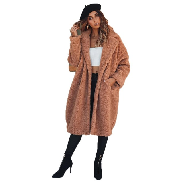 b796ddcf Brown polyester sherpa long sleeve notched collar coats for women ladies  autumn winter vintage midi-calf berber fleece outwear