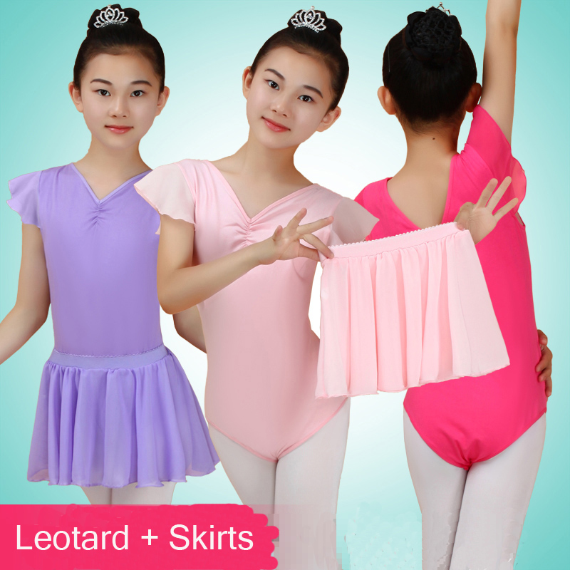 2016 New Lotus Sleeved Solid V-neck Ballet Costumes Girls Chiffon Leotard + Semi Transparent Tulle Skirts Ballerina Dress Kids