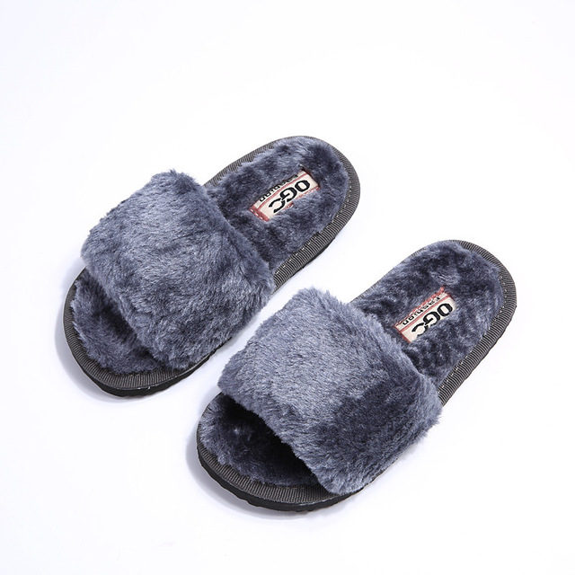 Autumn Winter 2016 Fashion Children Slippers Simple Solid Color Artificial Fur Girls Boys Shoes Kids Home Floor Indoor Slipper