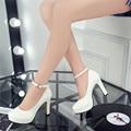 2016 весной и осенью новые туфли непромокаемую обувь толщиной с туфли на высоком каблуке круглые пряжки слово принцесса обувь