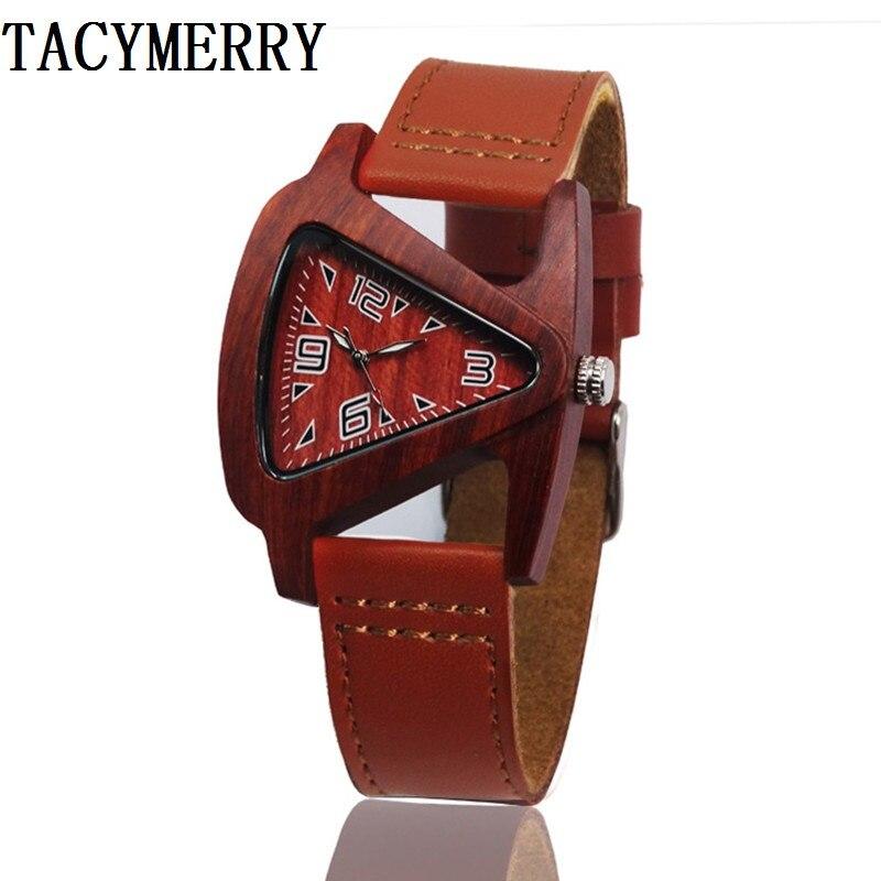 Unisex Charm Glass Bamboo Wooden WatchesFor Women Fashion Triangle Genuine Leather Analog Quartz Wrist Watch