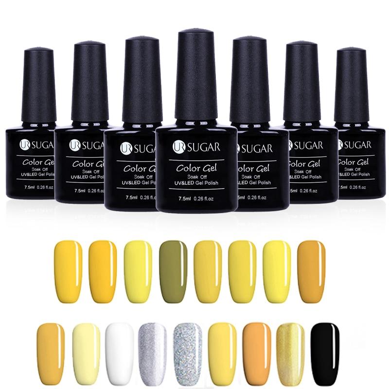 UR SUGAR Yellow Series Gel Nail Polish Soak Off UV Glitter Gel Varnish Pure Color Nail Art Decoration Set LED Manicure Lacquer