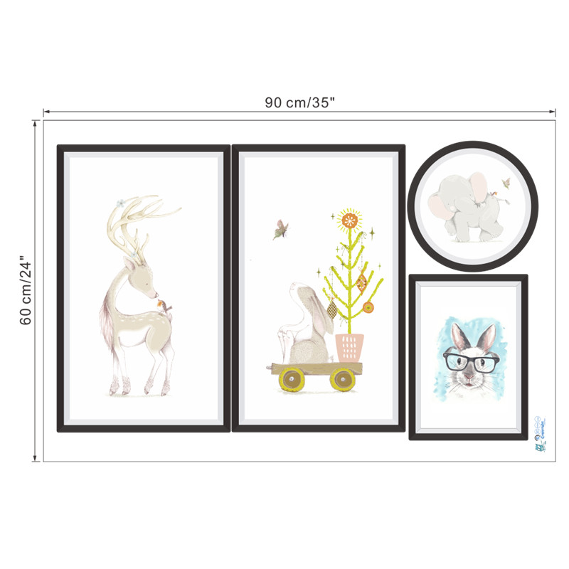 Photo Frame Animals Elephant Deer Rabbit wall stickers for kids rooms children nursery decals poster home office decor