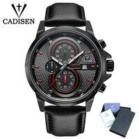2018 Hot CADISEN Luxury Brand Men's Watch Sport Military Quartz Men Wristwatches Waterproof Stainless Steel Leather strap Watch