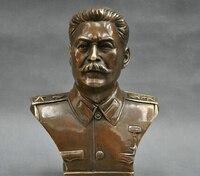 6'' Russian Leader Joseph Stalin Bust Bronze Statue R0712