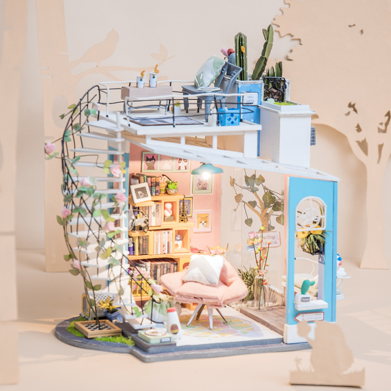 Robud DIY Wooden Doll House Kits For Doll Dollhouse Miniature With Furniture Toys For Children Girl's Gift