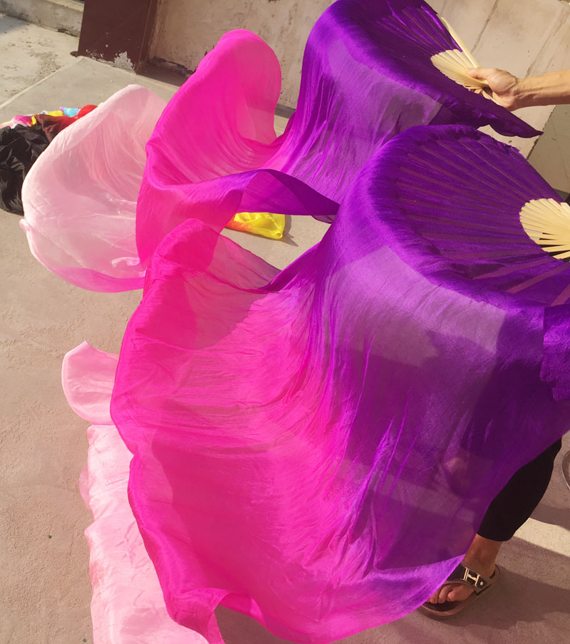 Children Adults  Hand Made Colorful Silk Bamboo Flame Belly Dance Long Folding Fan Veils Art Colorful Purple Pink Free Shipping(China)