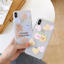 Happy bear transparent case the phone for iphone xr xs max x 7plus cute love heart fruits soft cover for iphone 7 8 6 6s plus x the position icon transparent soft case for iphone x