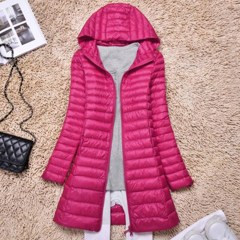 Autumn Winter Women Winter Plus Size Ultra Light Jacket 90% Duck   Down   Jacket Woman Hooded Thin Slim Long   Down     Coat   Parkas