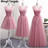 Mingli Tengda New Bridesmaid Dresses Long Sleeveless Lace Appliques Formal Prom Party Dresses Vestidos De Noiva Robe De Mariage