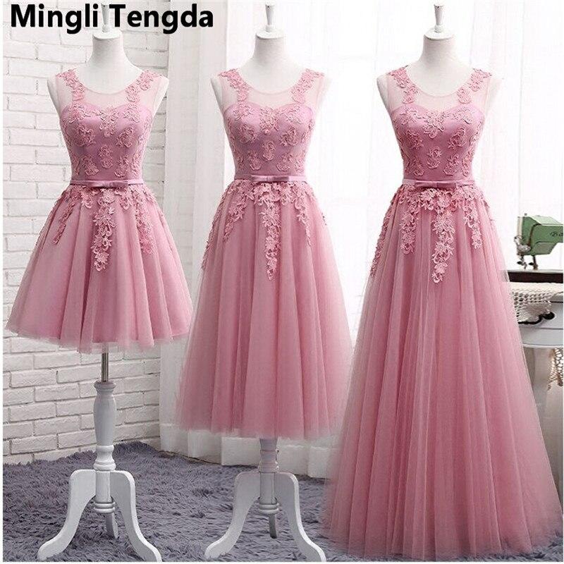 Mingli Tengda nouvelles robes De demoiselle d'honneur longue sans manches dentelle Appliques formelles robes De bal robes De Noiva Robe De Mariage