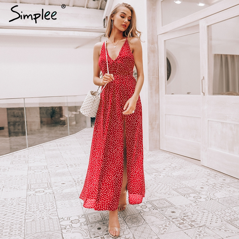 Simplee Slip backless sexy long dress Women chiffon summer dress red dot print vintage dress elegant party maxi dresses vestidos